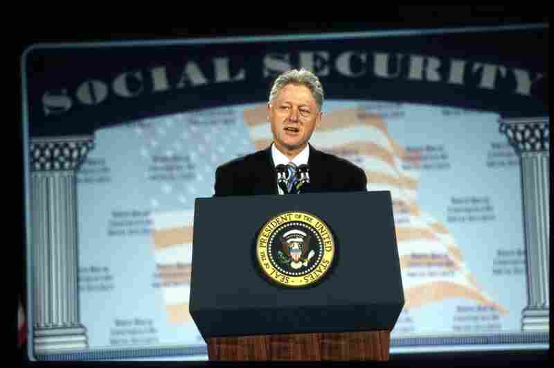 President Bill Clinton addresses a White House conference on social security in 1998.