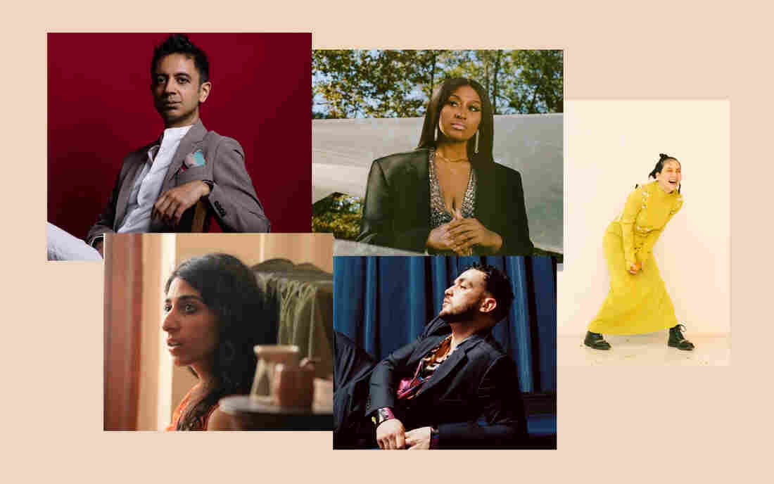 Musicians who made some of NPR Music's favorite albums of 2021 (so far) include (clockwise from upper left) Vijay Iyer, Jazmine Sullivan, Japanese Breakfast, C. Tangana and Arooj Aftab.