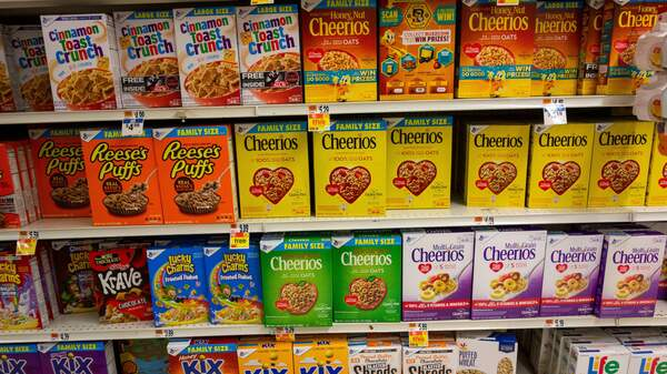 Several brands of cereal boxes fill the shelves at a grocery store January 10, 2019 in New Rochelle, New York.