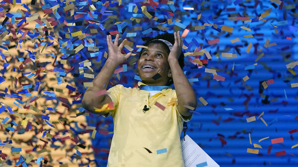 Zaila Avant-garde, 14, from Harvey, La., celebrates winning the finals of the 2021 Scripps National Spelling Bee at Disney World on Thursday.