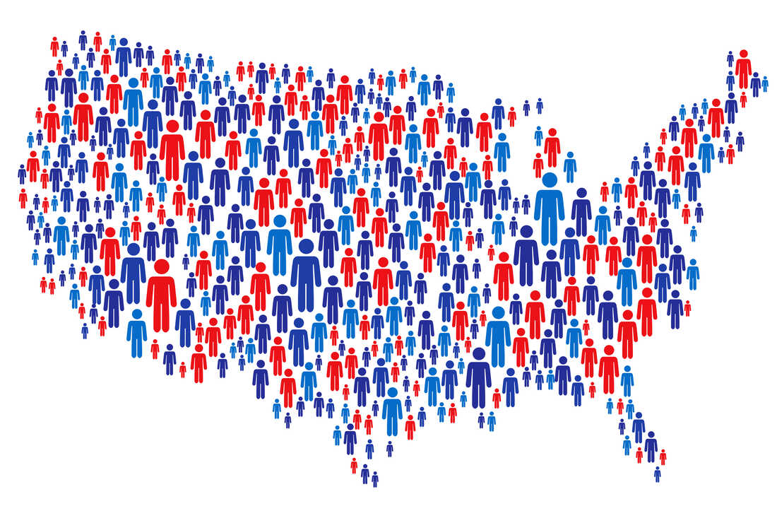 Vector of USA Map Made of Stickman Figure with Patriotic Colors