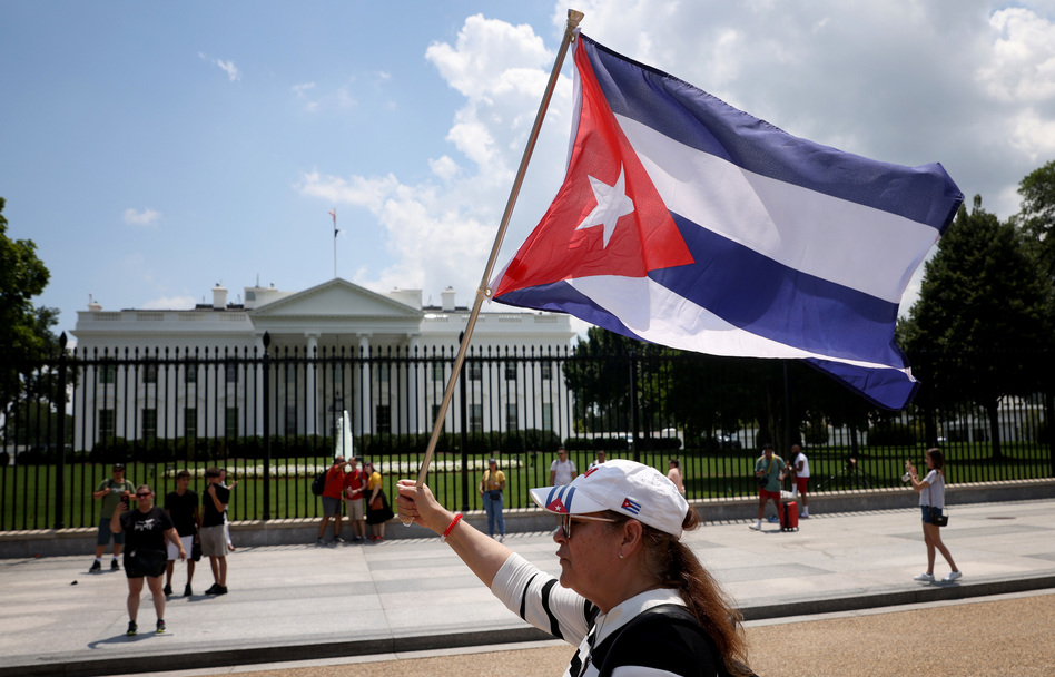 Cuban Americans demonstrate outside the White House on Monday in support of protests taking place in Cuba. (Win McNamee/Getty Images)