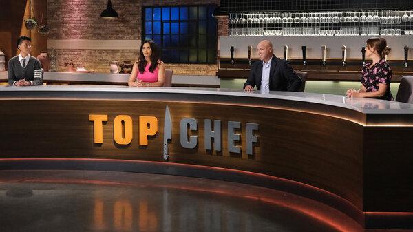 Judges Melissa King, Padma Lakshmi, Tom Colicchio and Gail Simmons in Season 18 of Top Chef.