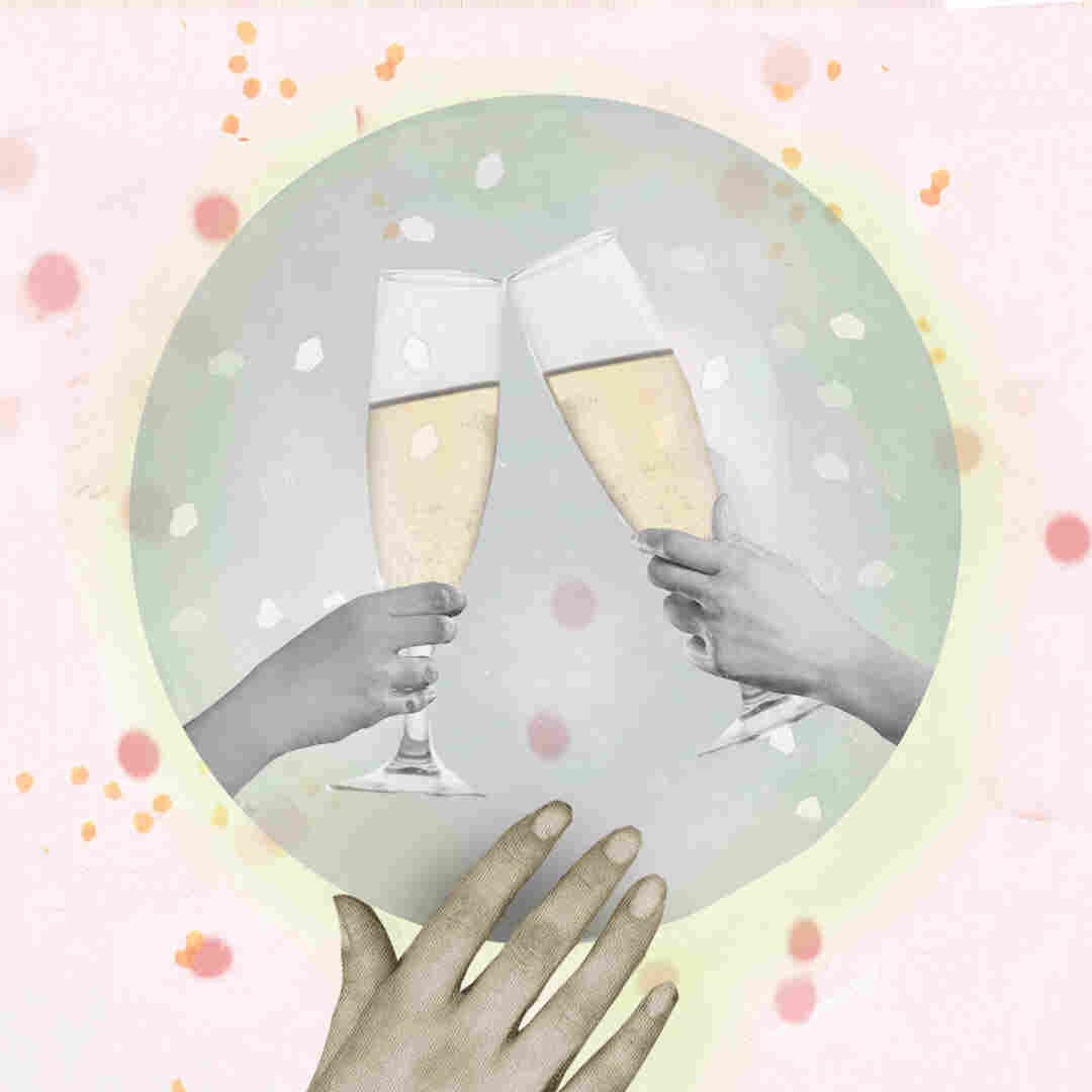 A collage illustration of a hand touching a crystal ball where two people share a toast.