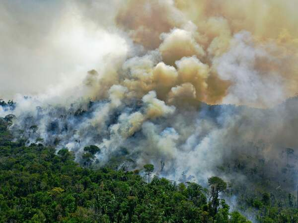 Aerial view of a burning area of Amazon rainforest reserve, south of Novo Progresso in Para state, on Aug. 16, 2020.