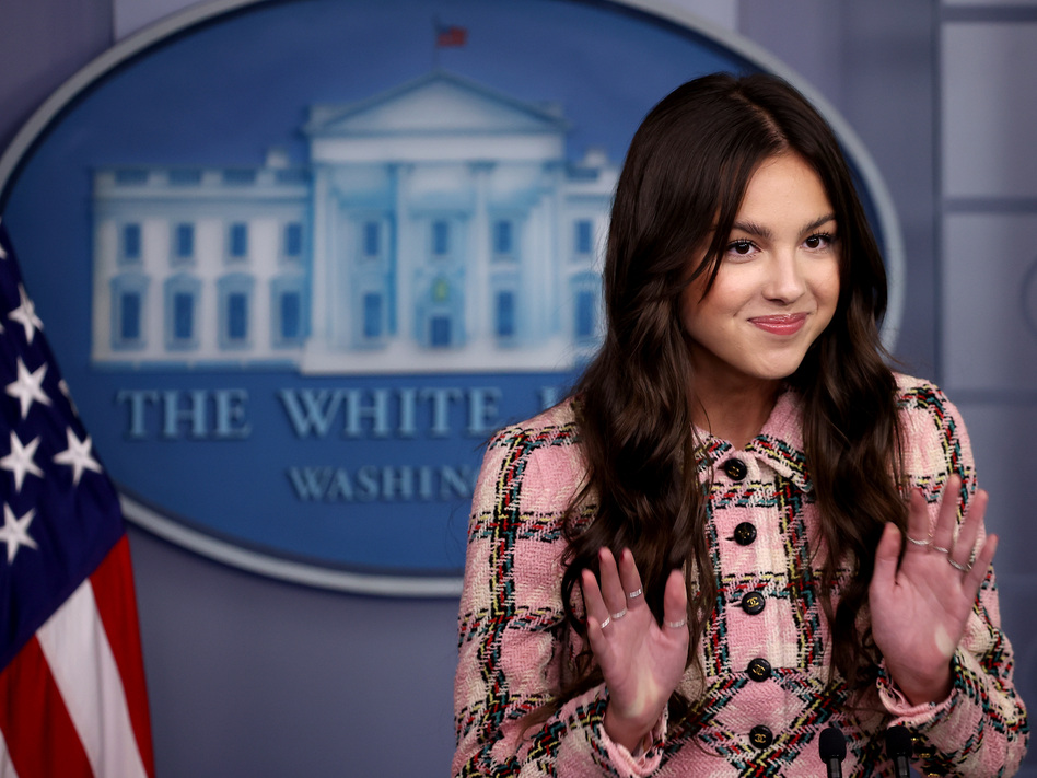 Pop star Olivia Rodrigo makes a brief statement to reporters Wednesday in the Brady Press Briefing Room at the White House. (Chip Somodevilla/Getty Images)
