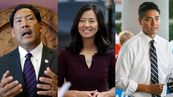 Candidates Bruce Harrell (Seattle), Michelle Wu (Boston), and Aftab Pureval (Cincinnati).