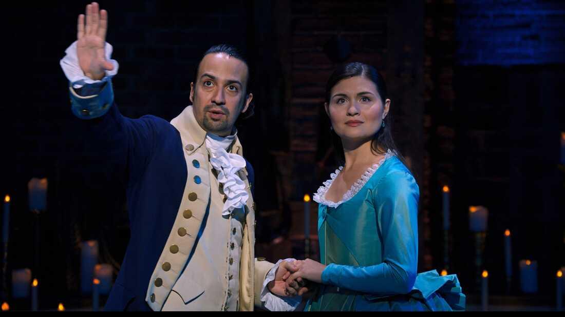 Lin-Manuel Miranda and Phillipa Soo as Alexander and Eliza Hamilton.