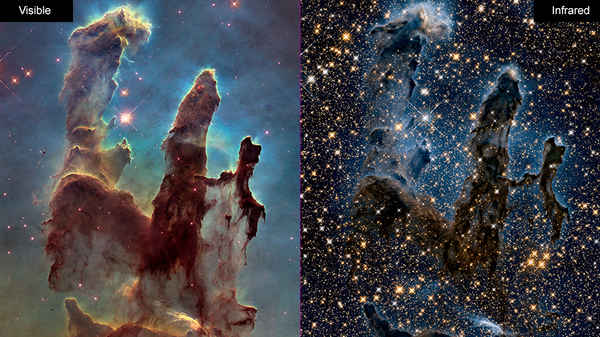 Images of the Eagle Nebula show the Hubble Space Telescope's ability to capture pictures in both visible (left) and infrared (right) light. NASA is celebrating the successful restart of the telescope's payload computer, opening the door to more observations.