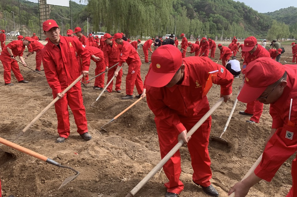 Employees of a local oil and gas company till fields using basic farming tools — just as Communist Party members would have done decades ago in Nanniwan, an impoverished county near Yan'an.