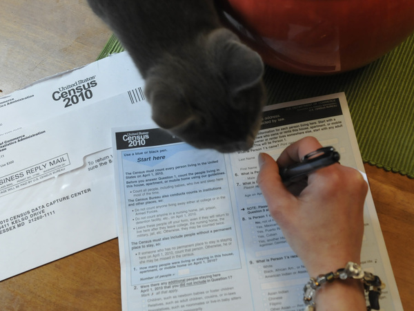 A resident of Reading, Pa., fills out a U.S. census form in 2010. The White House's Office of Management and Budget says it's reviewing proposals that the Census Bureau's researchers say would allow the census to gather more accurate race and ethnicity data about Latinos and people with Middle Eastern or North African origins.
