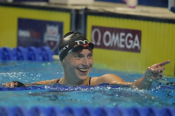 U.S. swimming star Katie Ledecky, shown here during U.S. Olympic Swim Trials last month, is competing in up to six events at the Tokyo Olympics.