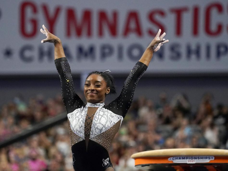 U.S. gymnast Simone Biles, shown here at the U.S. Gymnastics Championships, is seeking a second all-around Olympic gold medal. (Tony Gutierrez/AP)
