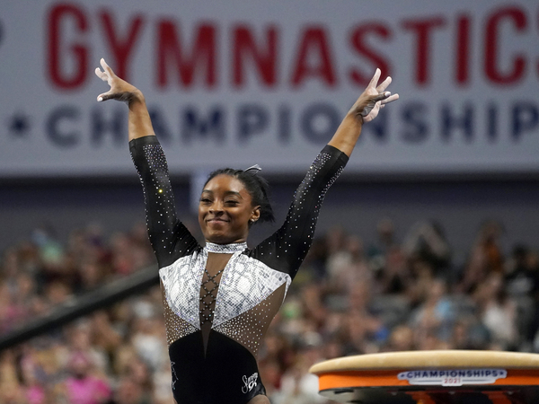 U.S. gymnast Simone Biles, shown here last month at the U.S. Gymnastics Championships, is seeking a second all-around Olympic gold medal.