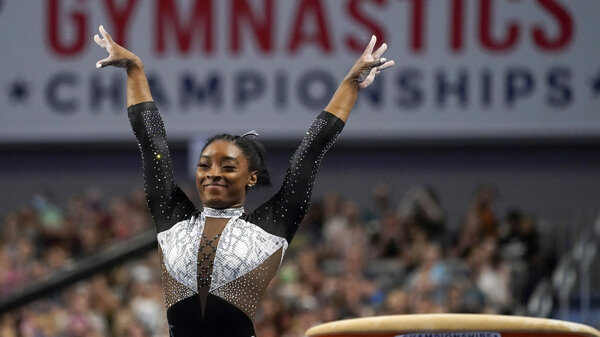 U.S. gymnast Simone Biles, shown here at the U.S. Gymnastics Championships, is seeking a second all-around Olympic gold medal.