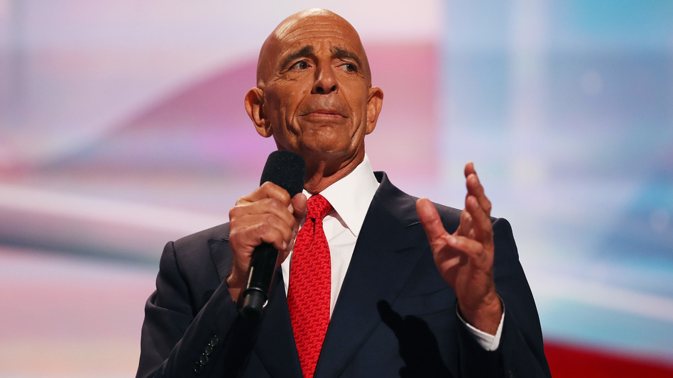Thomas Barrack delivers a speech at the Republican National Convention in July 2016. (John Moore/Getty Images)