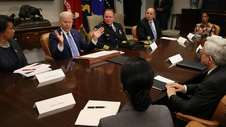 President Biden hosts a White House meeting about reducing gun violence on July 12. Violent crime is on the rise in many U.S. urban areas, and Democratic political strategists believe the White House needs to take on the issue of crime directly. (Chip Somodevilla/Getty Images)