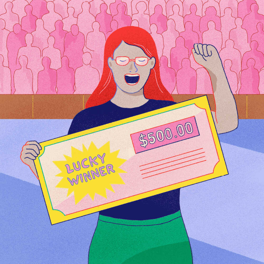 Illustration of a college student winning a lottery for getting vaccinated.