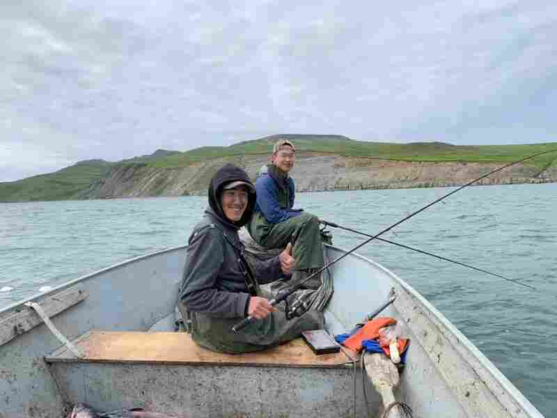 Ethan Lincoln, 17, fishes for king salmon and red salmon with his cousin Avery Tulik in Alaska's Kangirlvar Bay.