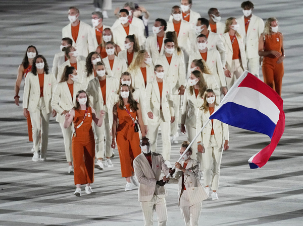 The Dutch Olympic team, shown here during the Opening Ceremony on Friday, has had three athletes test positive for coronavirus at the Games.