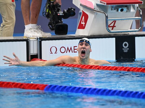 Chase Kalisz of the U.S. celebrates after winning the final of the men's 400m individual medley swimming event during the Tokyo 2020 Olympic Games on Sunday.