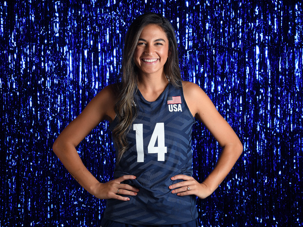 Sitting volleyball player Kaleo Kanahele Maclay poses for a portrait during the Team USA Tokyo 2020 Olympics shoot in 2019.