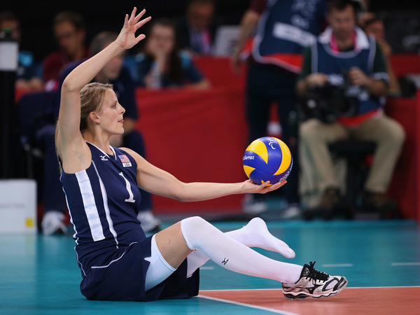 Lora Webster of the U.S.A. plays a shot during the Women's Sitting Volleyball final Gold Medal match against China at the London 2012 Paralympic Games.