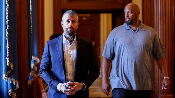 Washington, D.C., Metropolitan Police Department Officer Michael Fanone (left) and U.S. Capitol Police Officer Harry Dunn are two of the four officers set to testify Tuesday at the first hearing of the House select committee investigating the Jan. 6 attack on the U.S. Capitol.