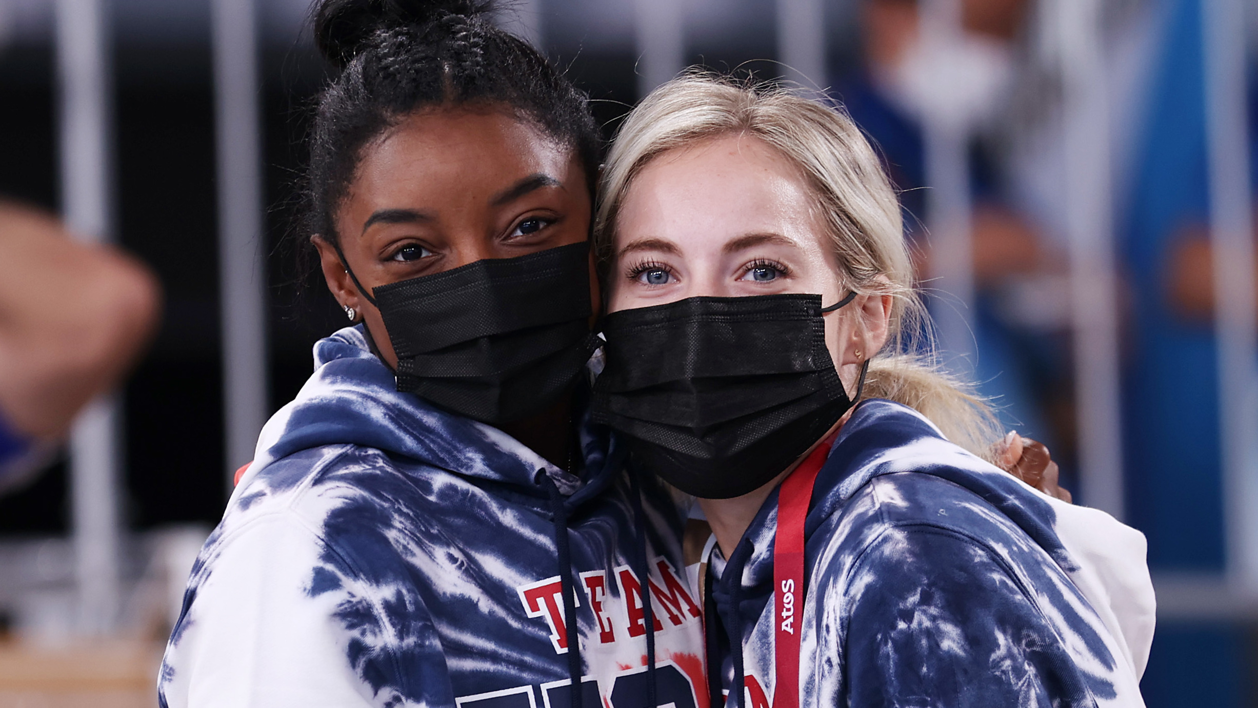 Simone Biles spoke at length about the reasons behind her withdrawal from the gymnastics team final. She's seen here on Wednesday with teammate MyKayla Skinner, as they watch the men's all-around final in Tokyo.
