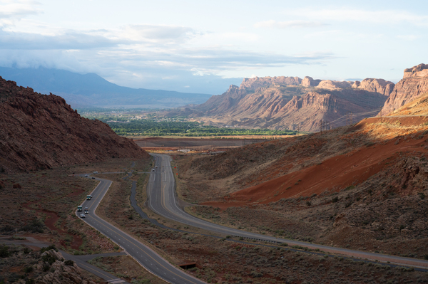 A view towards downtown Moab from Arches National Park.