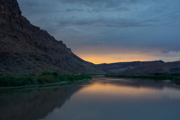 A view of the Colorado River just west of Moab where it runs along federal Bureau of Land Management land.