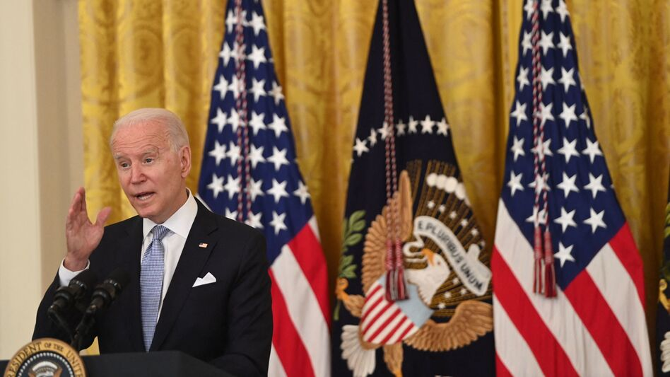 President Biden speaks about the pandemic and the country's vaccination campaign on Thursday at the White House. (Saul Loeb/AFP via Getty Images)