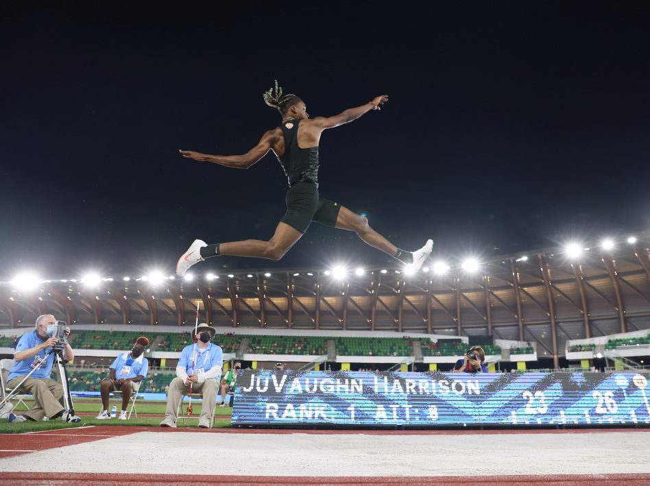 JuVaughn Harrison competes in the men's long jump final at the Olympic trials in June. He'll compete in both the long jump and high jump in the Olympics. (Andy Lyons/Getty Images)