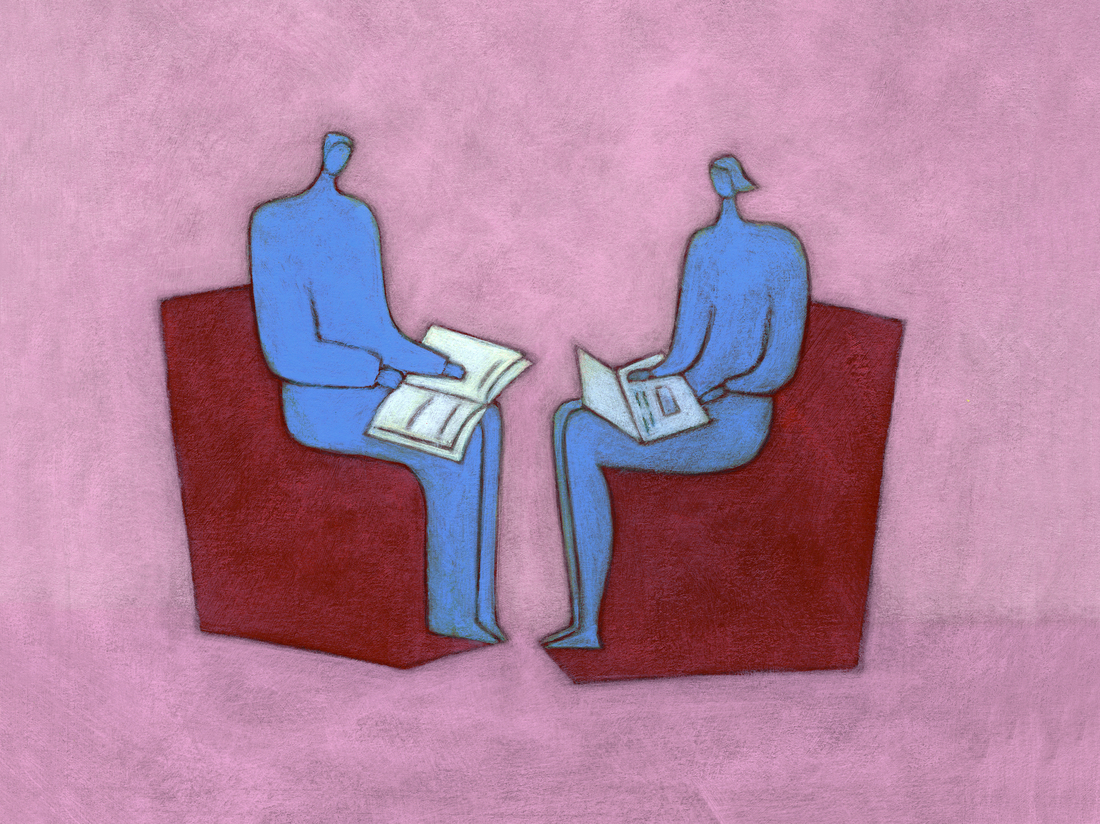 Couple sitting, book and computer