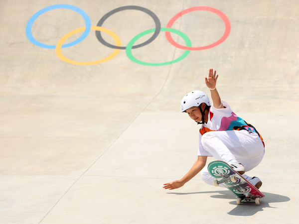 Momiji Nishiya of Team Japan competes during the Women's Street Final on day three of the Tokyo 2020 Olympic Games.