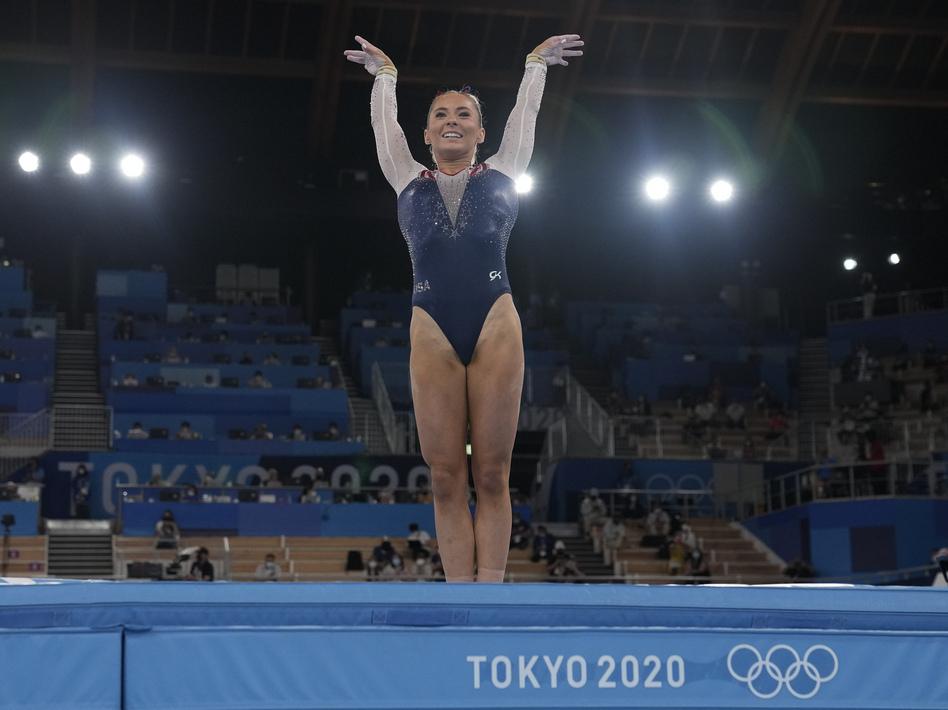 U.S. gymnast MyKayla Skinner performs on the vault during the gymnastics women's apparatus final at the Summer Olympics in Tokyo. (Natacha Pisarenko/AP)