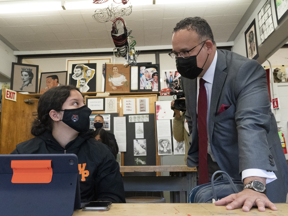 U.S. Education Secretary Miguel Cardona visits White Plains High School in White Plains, N.Y., on April 22. (Mark Lennihan/AP)