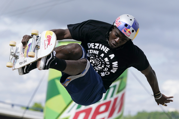 U.S. skateboarder Zion Wright competes in the Olympic qualifying skateboard event at Lauridsen Skatepark in May in Des Moines, Iowa. He'll go up against the world's top skateboarders in Tokyo this week.