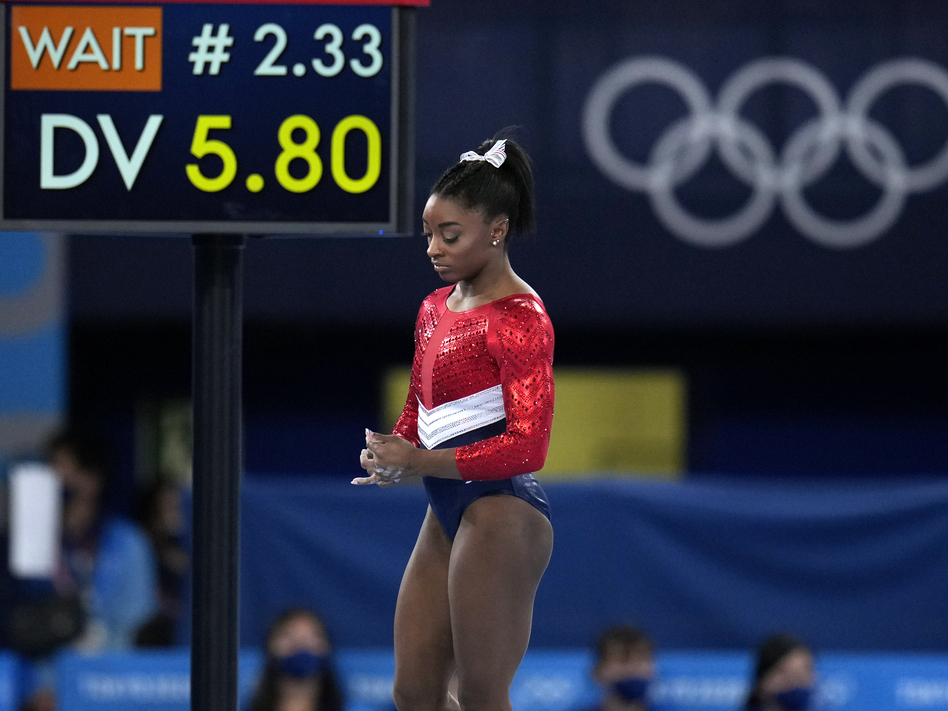 U.S. gymnastics star Simone Biles, shown here last week, will compete in the balance beam final at the Tokyo Games on Tuesday. (Gregory Bull/AP)