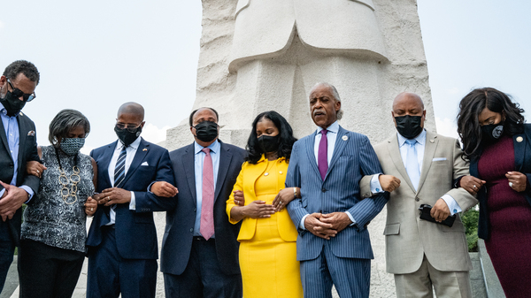 Civil rights leaders and members of the Texas Legislature, pictured on July 28, met to discuss actions to stop restrictive voting, announcing a national marchwill take place on Aug. 28.