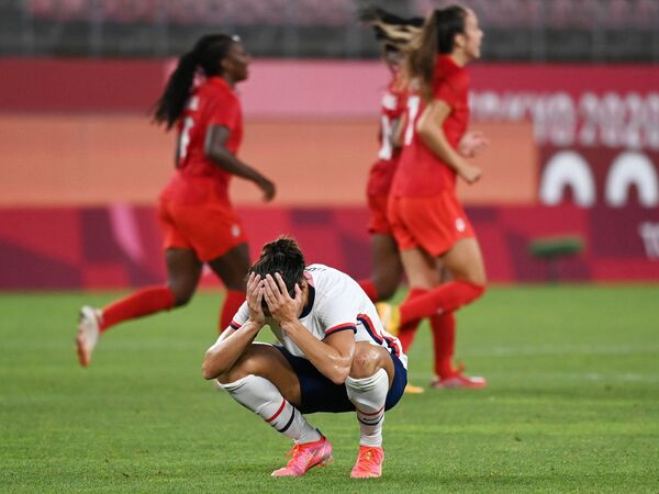U.S. forward Carli Lloyd reacts after a missed chance during the Tokyo Olympic Games women's semifinal soccer match between the U.S. and Canada on Monday in Kashima, Japan.