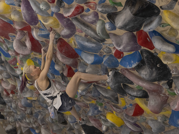 Slovenian climber Janja Garnbret, shown here training in June, is a star to watch at the debut of Olympic sport climbing.