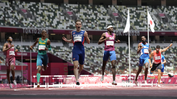 U.S. Nabs Olympic Silver In The Fastest Men's 400 Meter Hurdles Race Ever