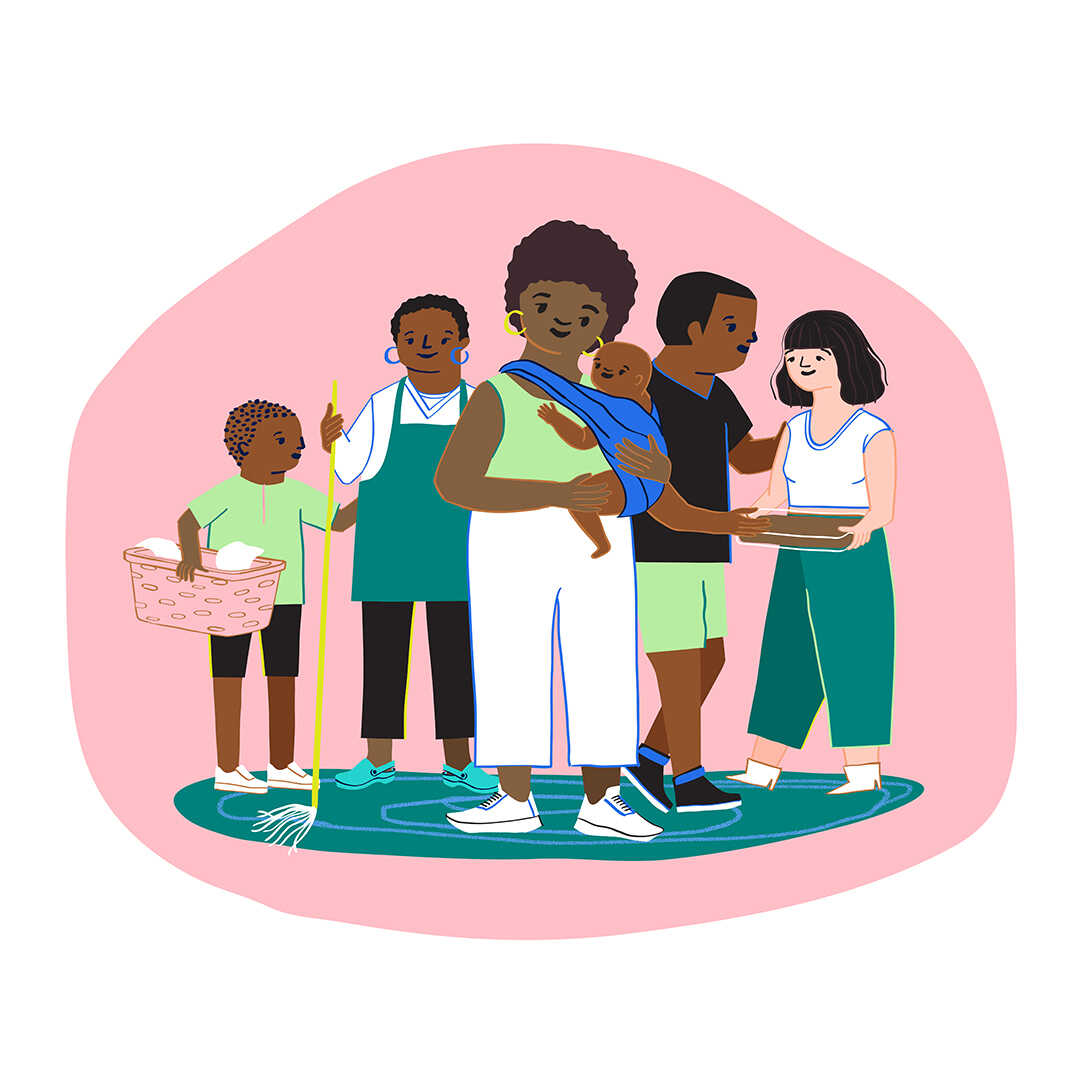 An illustration of a new mother holding their baby stands front and center, behind them are all their friends and family who have shown up to form a postpartum support squad — taking care of tasks like laundry, cleaning and meals while the parent adjusts to the baby.