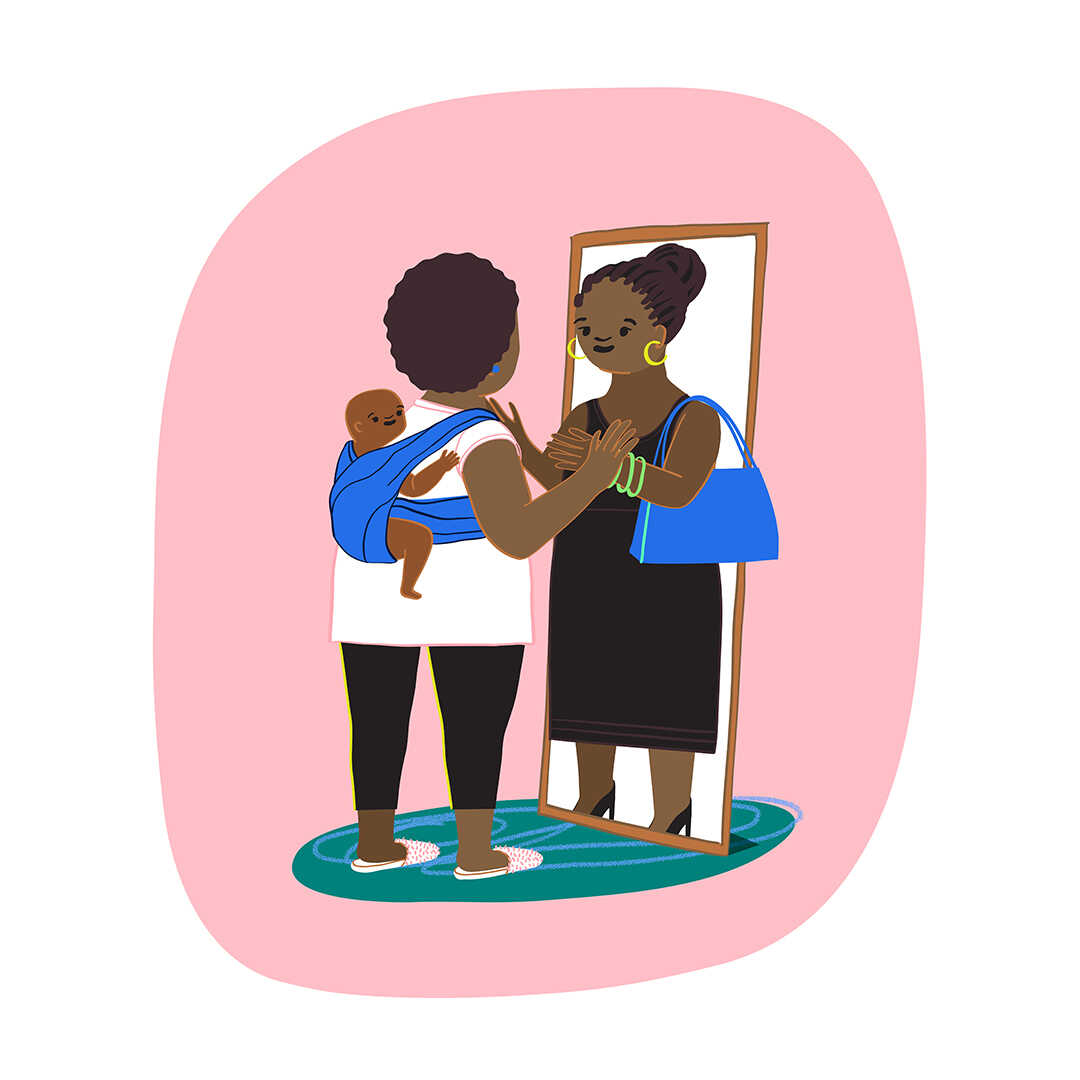"""Illustration of a woman wearing her baby on her back. She looks into a mirror and sees the """"old"""" version of her pre-baby self looking back at her. The woman in the mirror is dressed in professional attire and reaches out through the mirror to embrace the woman."""