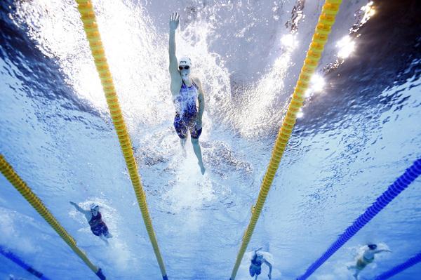 U.S. swimmer Katie Ledecky races in a heat of the women's 400 meter freestyle race in Tokyo.