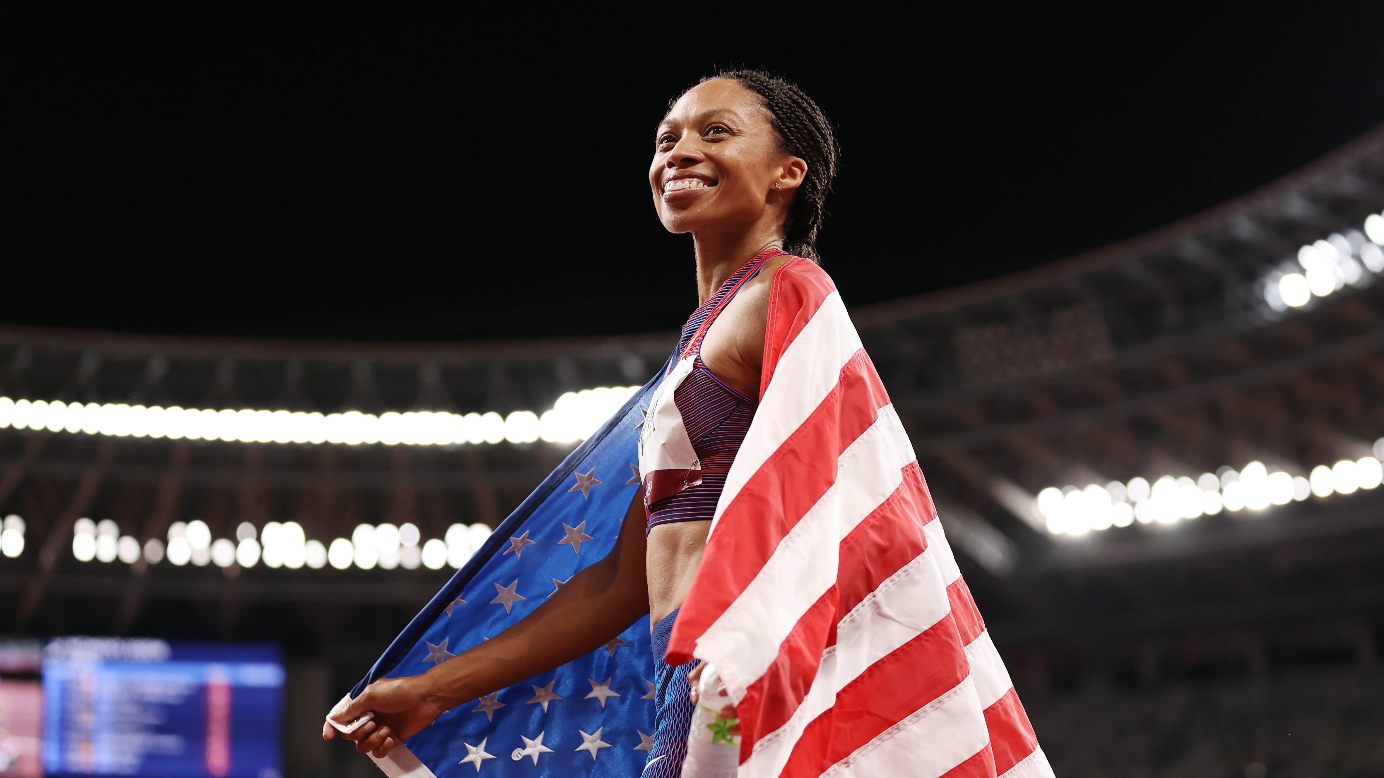 Allyson Felix of Team USA celebrates after winning the bronze medal in the women's 400-meter final at the Tokyo Olympic Games on Friday.