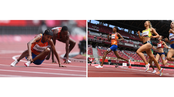 Dutch runner Sifan Hassan gets back up after falling, and finishes first in a heat of the women's 1,500 meter at Olympic Stadium in Tokyo.