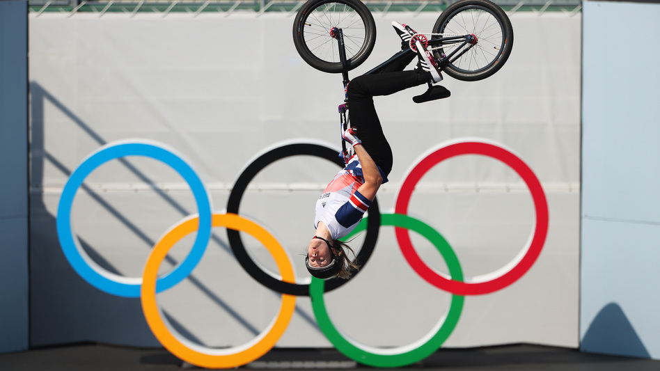 Charlotte Worthington of Team Great Britain practices a trick prior to the BMX Freestyle final.
