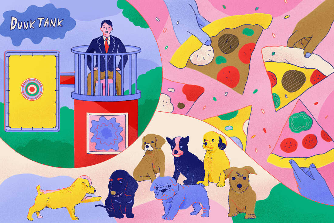 College vaccine incentives illustration with puppies, pizza and a dunk tank.